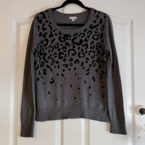 Merona Gray & Black Leopard Print Sweater